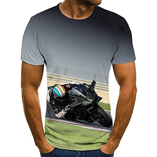JFX 3D Digitale Print Korte Mouw Heren Polyester Racing T-Shirt Zomer Ronde Hals Losse Jas Samen/I / 2XL