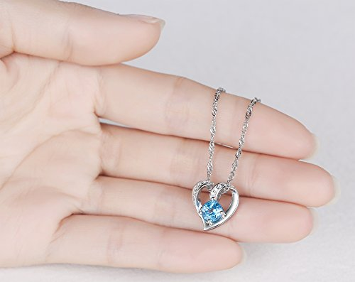 Ideal Gifts Sterling Silver and Natural Swiss-blue Topaz Gemstone Heart Style Pendant Necklace,18″