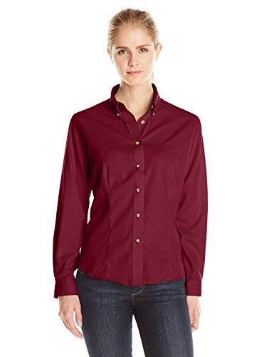 LEE Women's Dual Action Long Sleeve Work Shirt, Burgundy, Medium