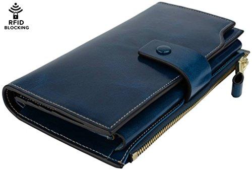 YALUXE Women's Wax Genuine Leather RFID Blocking Clutch Wallet Wallets for Women Blue by YALUXE (Image #7)