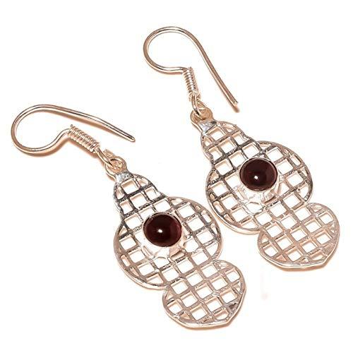 jewels house Pink Tourmaline Cabochon Gemstone Silver Plated Handmade Filigree Drop Dangle Earrings for Women