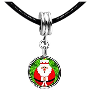 Chicforest Silver Plated Happy Santa Claus Photo Emerald Green Crystal May Birthstone Flower dangle Charm Beads Fits Pandora Bracelets