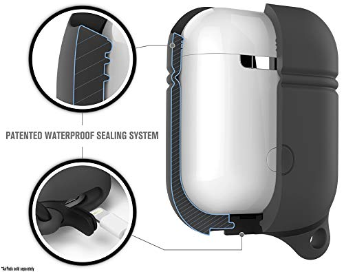 Catalyst Airpods Case Protective Silicon Cover, Compatible with Airpods Charging Case for Airpods 2, LED Light Visible, Compatible with Wireless Charging, Carabiner, Waterproof - Slate Gray