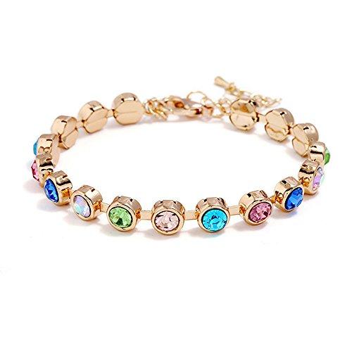 Wiwiw Charm Roman Crystal Diamond Tennis Bracelet Bangle Wedding Bridal Jewelry Fashion Bracelets (Multi Crystal)