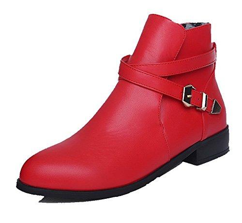 AllhqFashion Mujeres Mini Tacón Pu Sólido Hebilla Puntera Redonda Botas Rojo