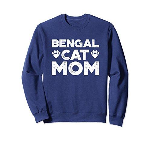 Unisex Funny Cat Sweatshirt for Women - Bengal Cat Mom Large Navy