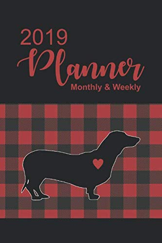 (2019 Planner: Buffalo Plaid with Dachshund Dated Daily, Weekly, Monthly, Yearly Planner with To-Do, Gratitude, Habit Tracker, Dot Grid to use as ... Schedule, Journal, or Notebook, Monday start.)