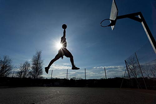 Basketball Player Air Slam Dunk Hoop Silhouette Photo Laminated Dry Erase Sign Poster 24x36