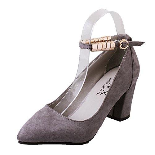 Young Girl mit Frischen High Heels,Schuhe Koreanische Version Des Flachen mundes, Chunky Heels Schuhe mit Schnalle Gürtel-A Fußlänge=22.8CM(9Inch)