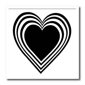 ht_37466_3 Florene Holiday Graphic - Valentine Black and White Heart - Iron on Heat Transfers - 10x10 Iron on Heat Transfer for White Material