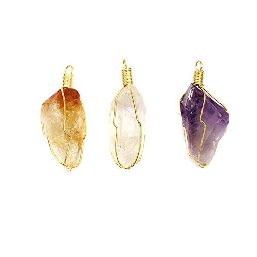 Set of 3 - Quartz, Citrine and Amethyst Point Wire Wrapped Gold Toned Pendant w/ RP COA