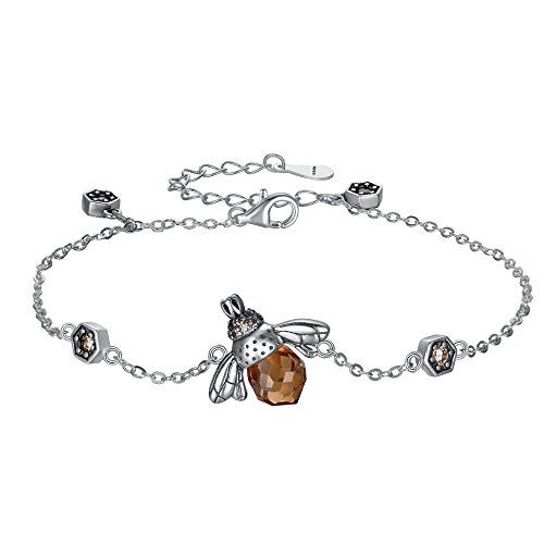 EleQueen 925 Sterling Silver Vintage Inspired Brown Crystals Queen Bee Bracelet Jewelry For Women