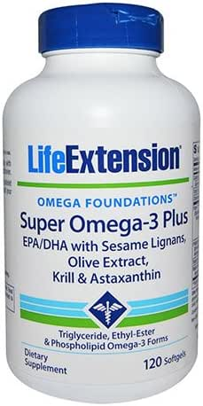 Life Extension Super Omega-3 Epa/DHA with Sesame Ligans & Olive Extract, Krill/Astaxanthin Soft Gels, 120 Count