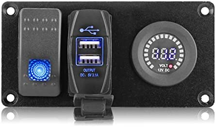 Qiilu Panneau de commutateur /à bascule pour voiture 2 Combinaison LED Interrupteur /à bascule unique vert allume-cigare 3 Jaune chargeur de voiture