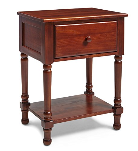 Mantua Victoria Wood Nightstand - Traditional & Classic Solid Wood Nightstand for Bedside Essentials in A Beautiful Cherry Finish - Model NSTC