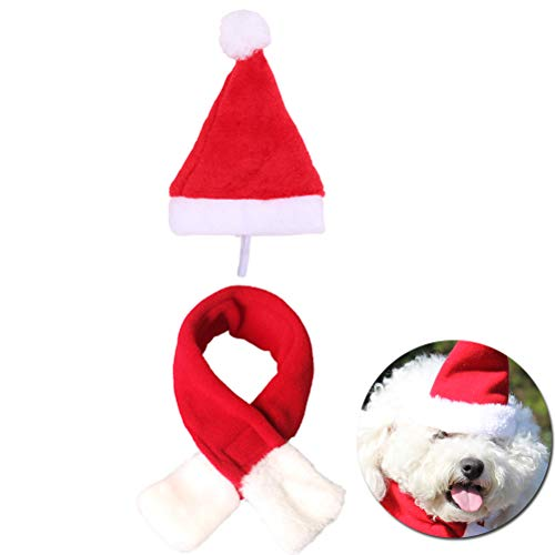 TableRe 1 Set Pet Christmas Hat and Scarf | Puppy Kitten Headband Costume Cap -