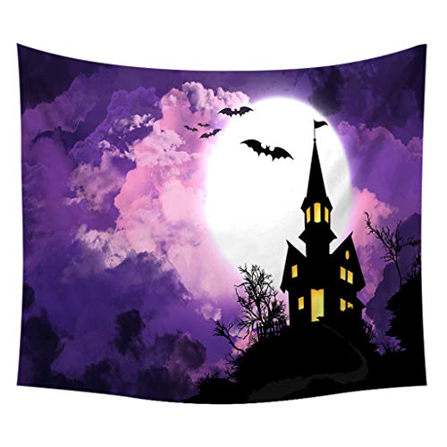 Pink Floyd Halloween Pumpkin (Salaks Fantasy Art House Decor Wall Hanging Tapestry for Bedroom Living Room Dorm, Halloween Theme Night Pumpkin and Haunted House Ghost)
