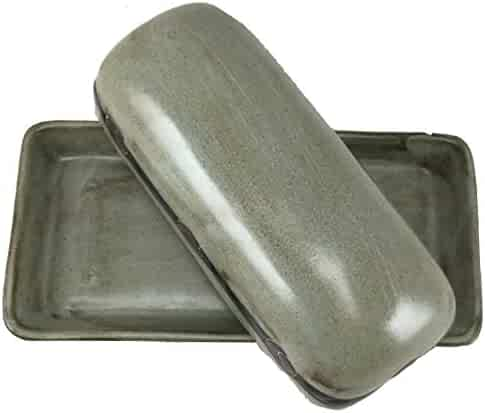 MARA STONEWARE COLLECTION - Collectible Covered Butter Serving Dish - Mexican Pottery - Antique Green