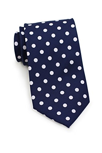 Navy Blue Polka Dot - Bows-N-Ties Men's Necktie Bold Polka Dot Microfiber Satin Tie 3.1 Inches (Navy Blue and White)