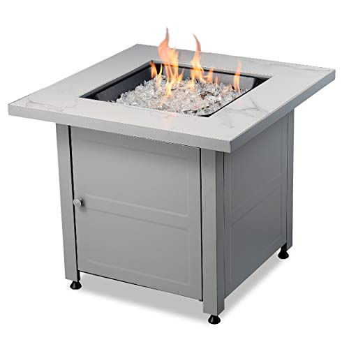 - Endless Summer All Weather Outdoor Fire Pit with Faux Marble Finish, White Glass