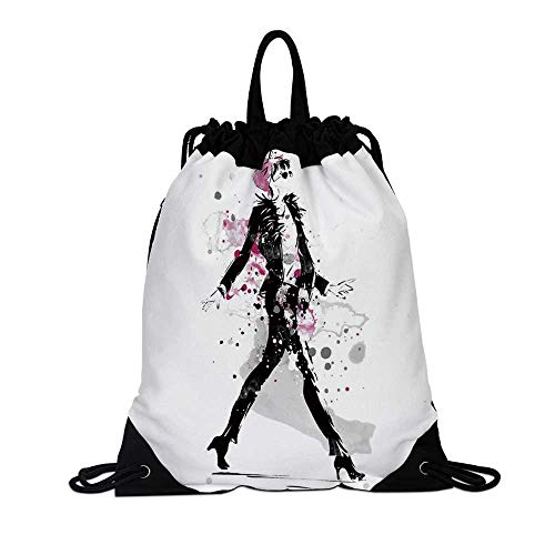 - Fashion Canvas Drawstring Bag,Glamorous Stylish Sexy Woman Model on Catwalk Runway in Vintage Clothes Design for Travel School,7.4