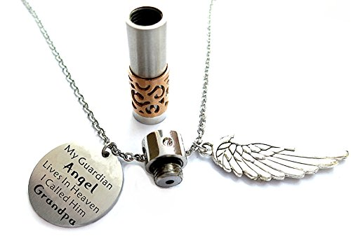 Grandpa Memorial Jewelry My Guardian Angel Lives in Heaven I Call Him Grandpa Keepsake Necklace