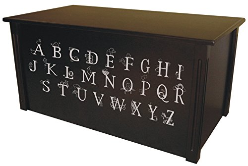 (Wood Toy Box, Large ABC Toy Chest in Espresso, Thematic Font, Custom Options (Standard Base - Silver Lettering))