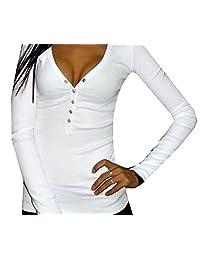 CFD Womens Sexy V-Neck Slim Long-Sleeved T-Shirts