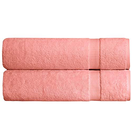 (SALBAKOS Turkish Luxury Hotel & Spa 35x70 Bath Sheet Set of 2, Turkish Cotton, Organic, Eco-Friendly, Coral)