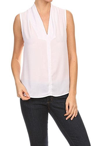 ReneeC. Women's Solid V Neck Sleeveless Office Tank Blouse Top - Made in USA (X-Large, White)