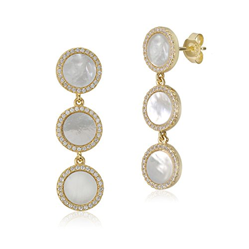 (MASSETE Sterling Silver 925 Yellow Gold Plated CZ Mother of Pearl Triple Round Disc Dangle Post Earrings)