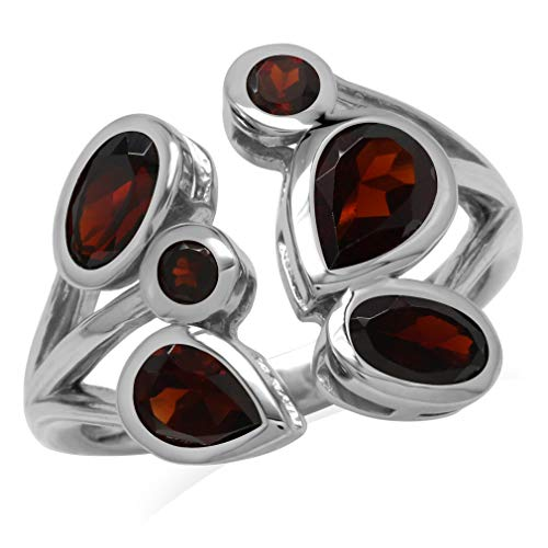 (2.89ct. Natural Garnet 925 Sterling Silver Cluster Cocktail Open Front Ring Size 9)