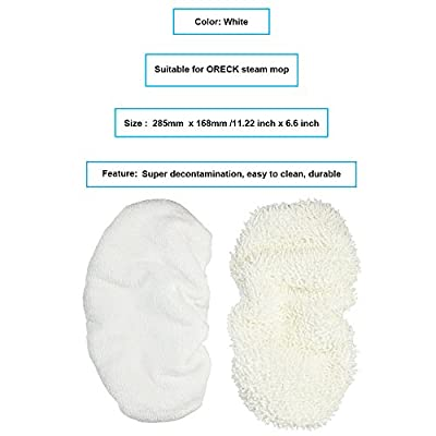"Mumaxun Replacement Mop Pads Kit Oreck Steam Mop (Size 11.2"" x 6.6"" / 28.5cm x 16.8cm), Pack of 2 Include Heavy duty bonnets, All Purpose Bonnets"