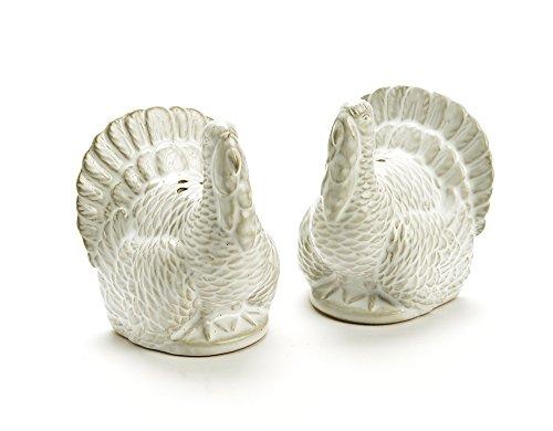 Classic Turkey Salt and Pepper Shaker Set in White Ceramic -