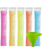 """Ice Popsicle Pouches 150 PCS, CLTPY Ice Popsicle Mold Bags with A Funnel and Zip Seals, Disposable Ice Pop Pouch for Healthy Snacks, Yogurt Sticks, Juice & Fruit Smoothies (8.66""""×2.37"""")"""