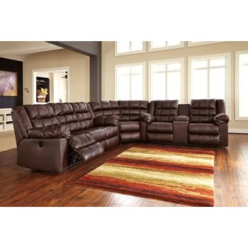 Signature Design by Ashley 8320277 Brolayne DuraBlend Collection Sectional Wedge, Saddle