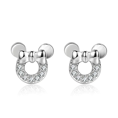 18g Stainless Steel Cute Mouse Cubic Zirconia Cartilage Earrings Helix Piercings Sleeper Earrings 2 Pieces(White)