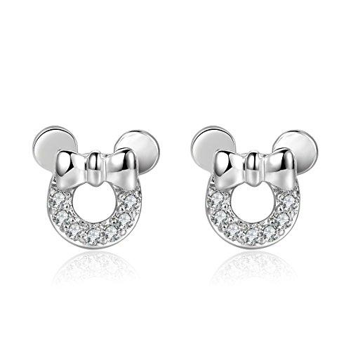 18g Stainless Steel Cute Mouse Cubic Zirconia Cartilage Earrings Helix Piercings Sleeper Earrings 2 Pieces(White)
