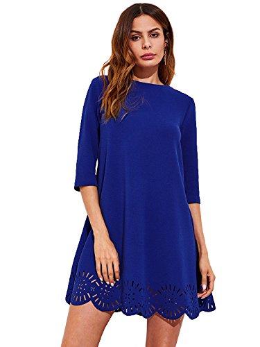 SHEIN de la mujer cuello redondo manga corta Hollow vestido de cambio - Azul -
