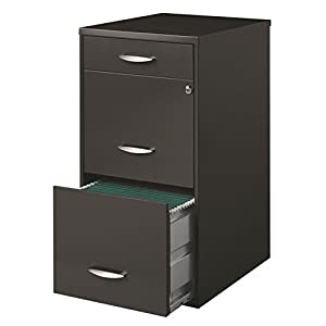 Hirsh SOHO 3 Drawer File Cabinet in Charcoal