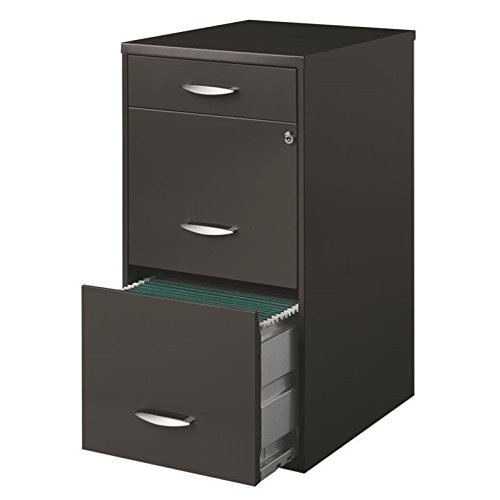 Hirsh SOHO 3 Drawer File Cabinet in Charcoal File Cabinet With Lock