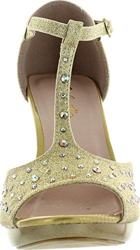 Celeste Femmes Lynn-01 T-sangle Robe De Demoiselle Dhonneur Parti Sandal Pompes Or