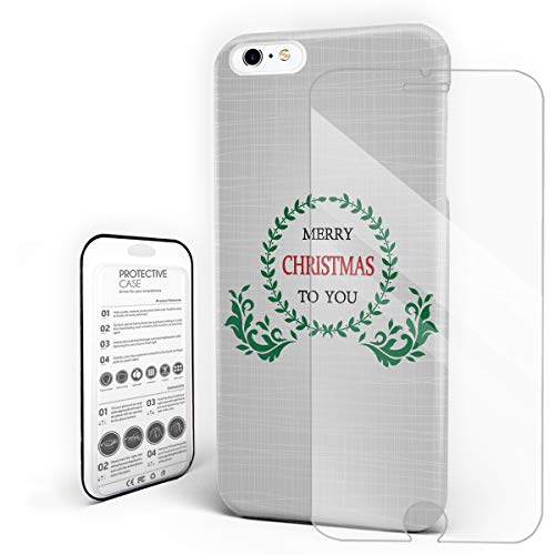 - iPhone Case Set, Merry Christmas Olive Floral Ornament PC Hard Back Protective Cover Phone Case with Slim Tempered Glass Screen Protector, Compatible with iPhone 6Plus / iPhone 6sPlus