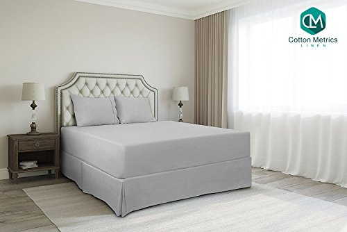 "Cotton Metrics Linen Present 800TC Hotel Quality 100% Egyptian Cotton Bed Skirt 21"" Drop Length Queen Size Silver Grey Solid"