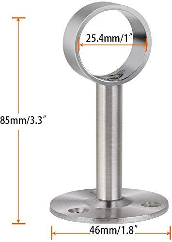 ZLYY 22mm //0.8 Inch Ceiling Mount Shower Curtain Rod Brackets 304 Stainless Steel Closet Rod Bracket Satin Nickel of 2 Pack