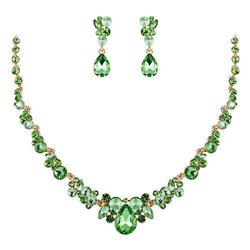 EVER FAITH Rhinestone Crystal Luxury Banquet Ball Floral Waterdrop Necklace Earrings Set Green Gold-Tone