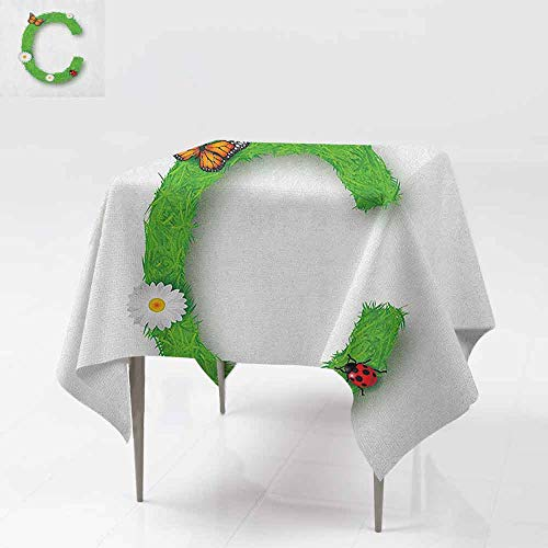 DUCKIL Washable Table Cloth Capital C with Grass Greenland Spring Flourishing Nature Themed Character Picnic W63 xL63 Green Multicolor