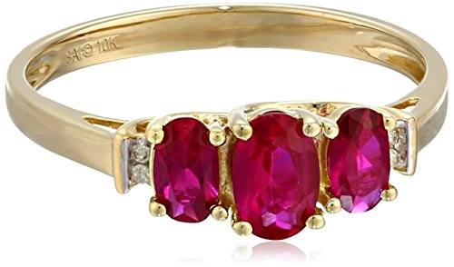10k-Yellow-Gold-July-Birthstone-3-Stone-Created-Ruby-with-Diamond-Accent-Ring-Size-8