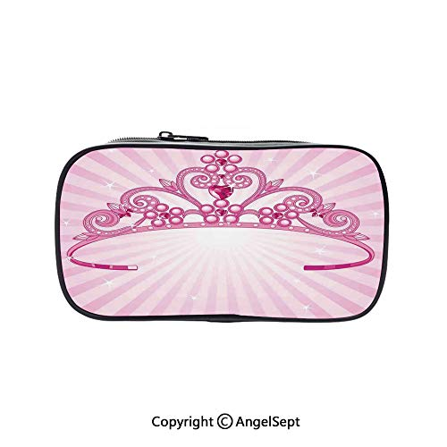 Pen Case Office College School Large Storage,Beautiful Pink Fairy Princess Costume Print Crown with Diamond Image Art Decorative 5.1inches,Box Organizer New Arrival