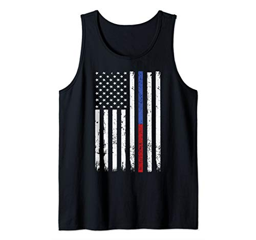 Firefighter & Police Officer Thin Red & Blue Line USA Flag Tank ()